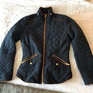 Quilted navy blue zip jacket - lightweight